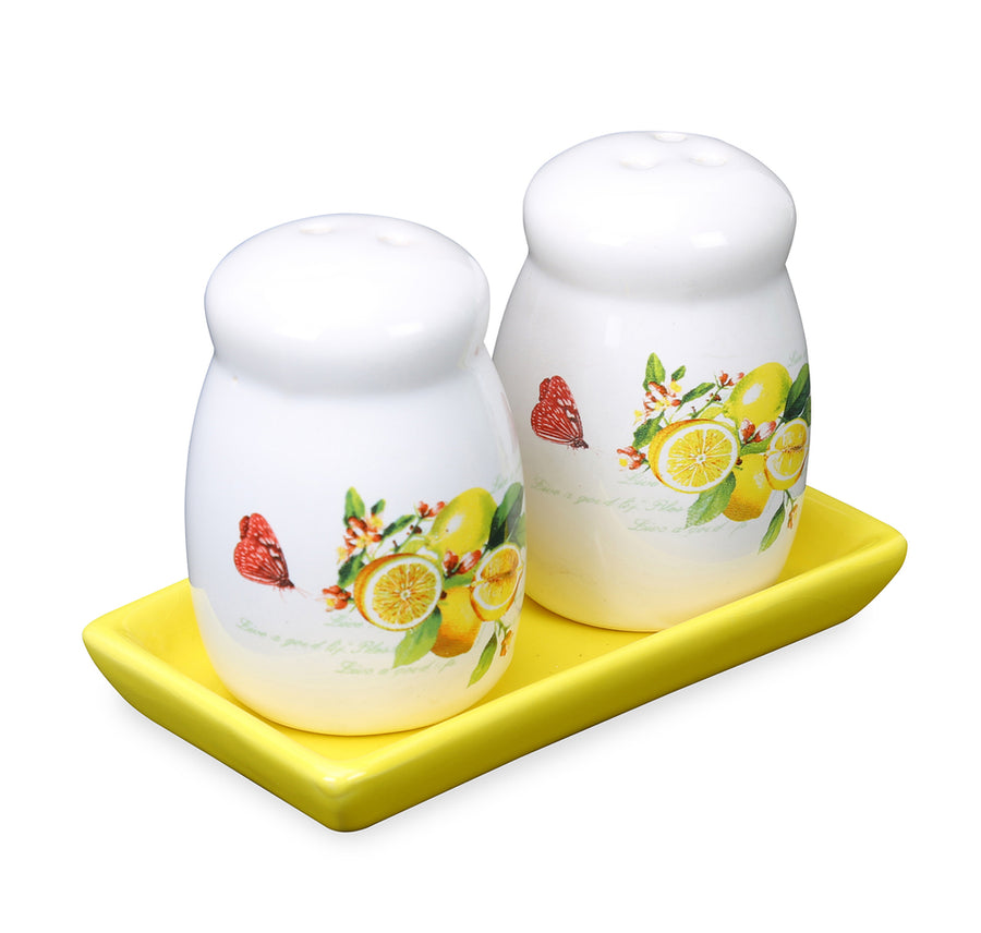 Ceramic Salt & Pepper Container with Tray (Yellow)