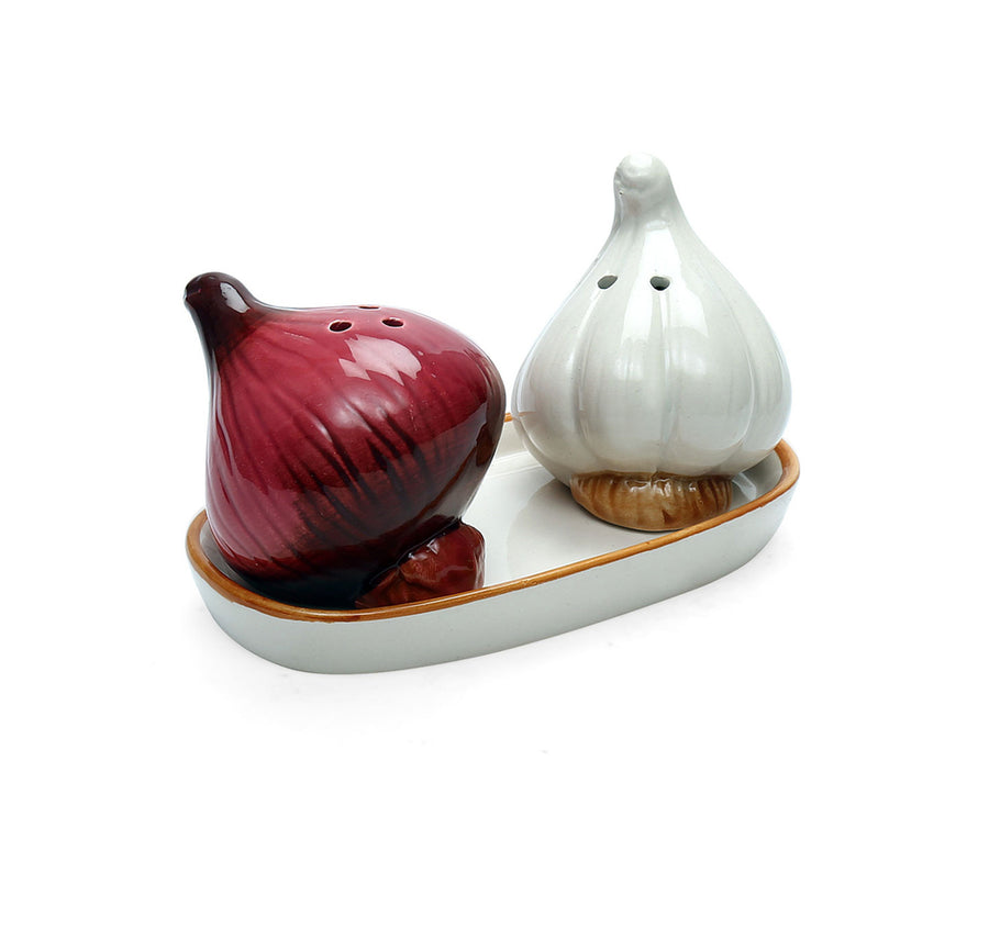 Garlic Salt & Pepper With Tray (Multicolour)