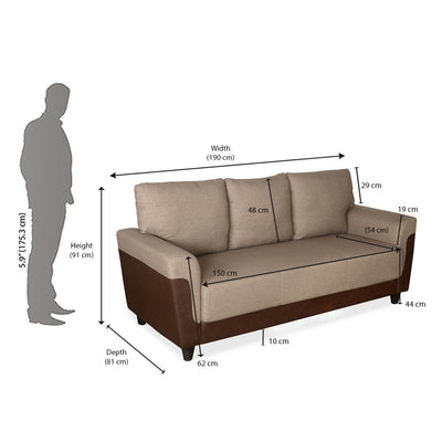 Saviour 3 Seater Sofa (Mocha Brown)
