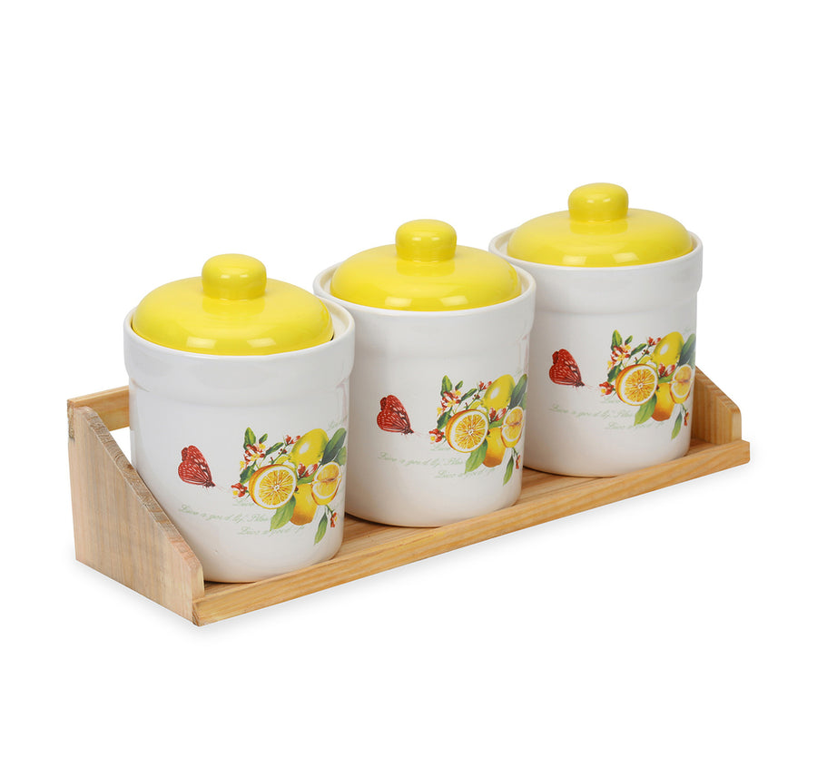 Ceramic Set Of 3 Jars With Wooden Tray (Yellow)