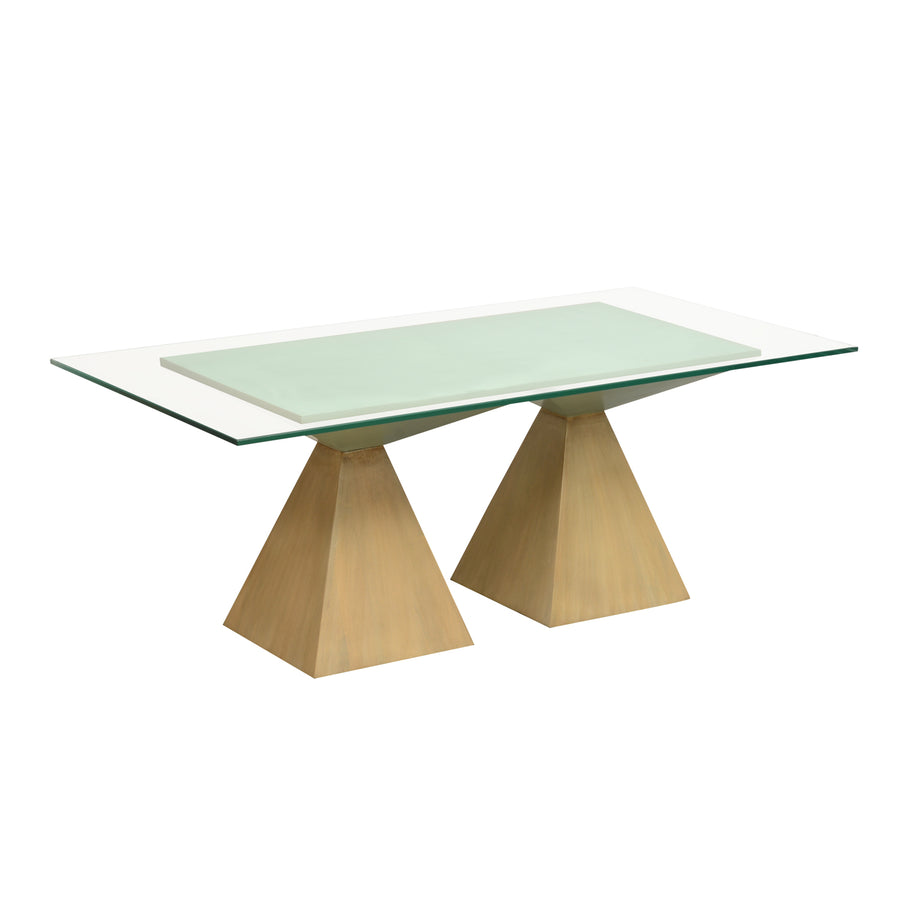 Spatial Pedestal Centre Table (Beige & Green)