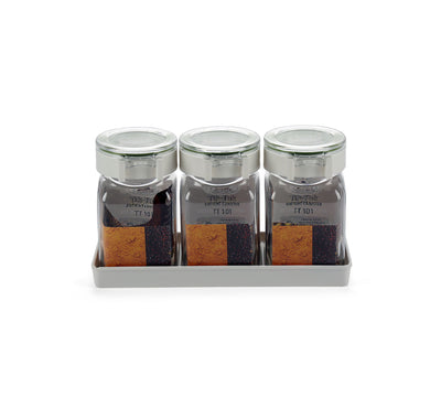 Tik Tak Square 350 ml Canister With Tray 3 Pieces (Clear)