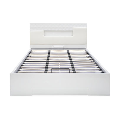Theia High Gloss King Bed With Storage (White)