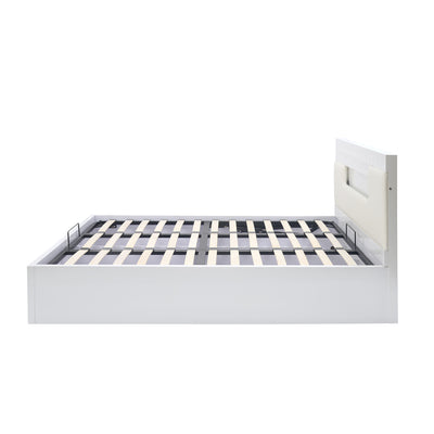 Theia High Gloss Queen Bed With Storage (White)
