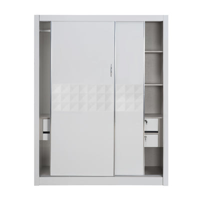Theia High Gloss Sliding Wardrobe (White)