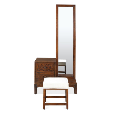 Trellis Dresser With Pouffe and Mirror (Cherry)