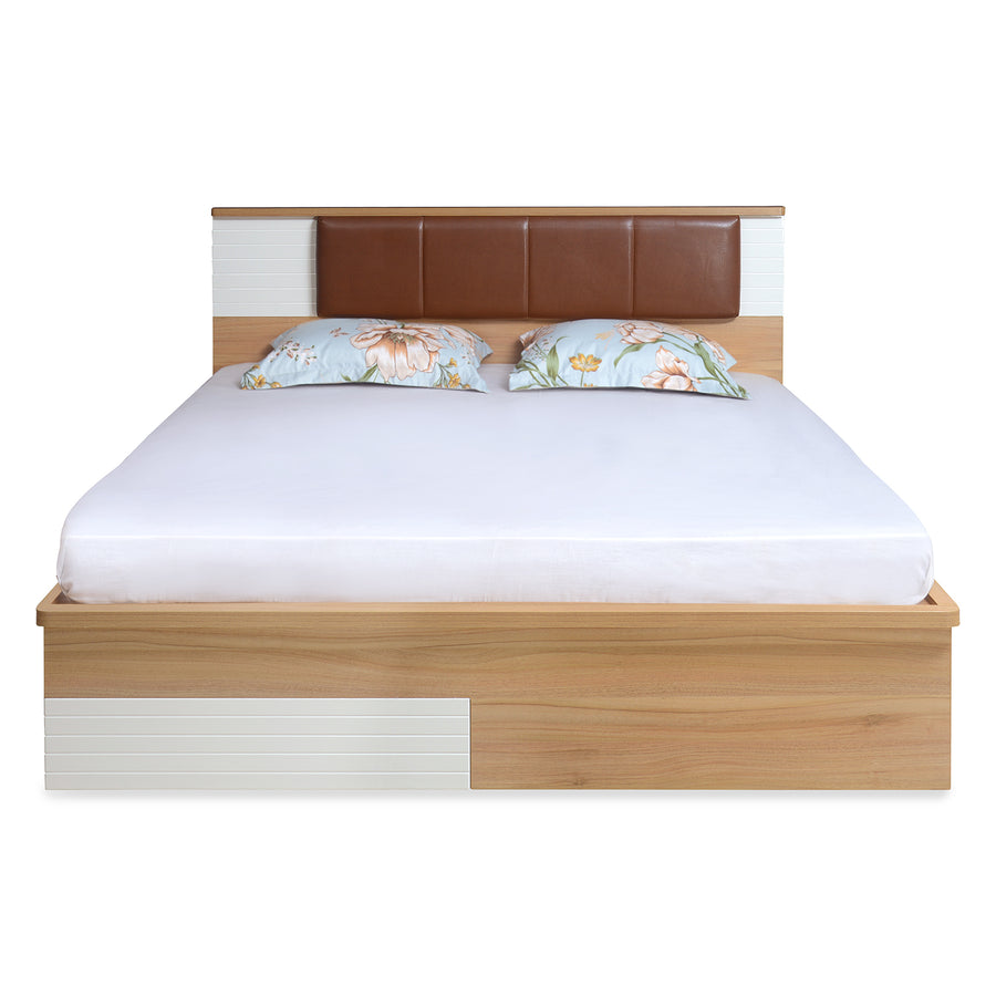 Valentino Queen Bed With Storage (Maple)