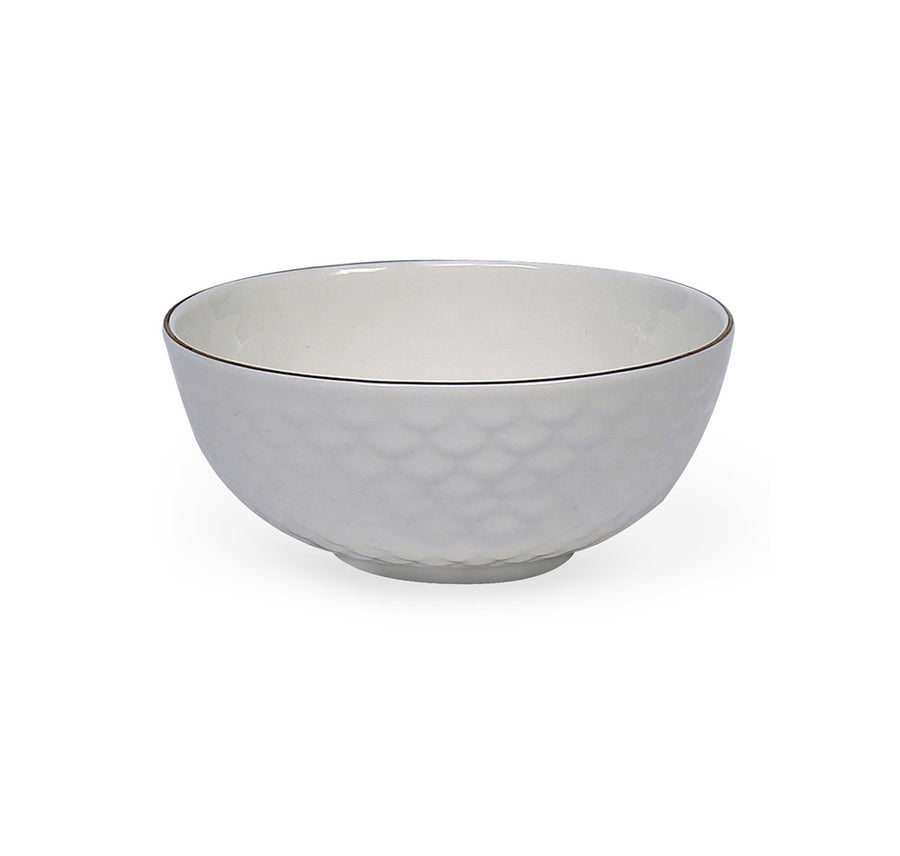 Gold Ripple Ceramic 240 Ml Bowl Set Of 6 (White)
