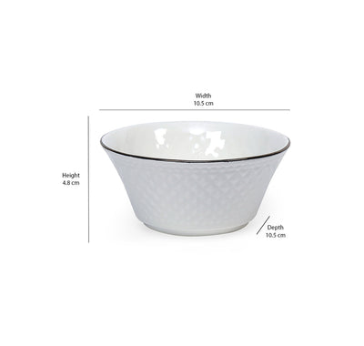 Platinum Casper Ceramic 240 Ml Bowl Set Of 6 (White)