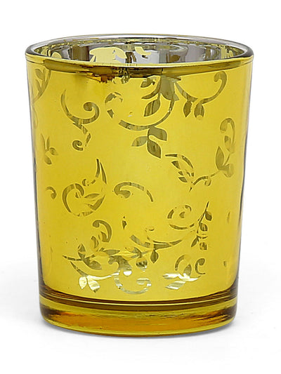 Floral Glass Votive Set of 2 (Mustard)