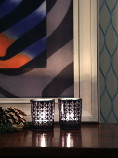 Stripes Glass Votive Set of 2 (Black)