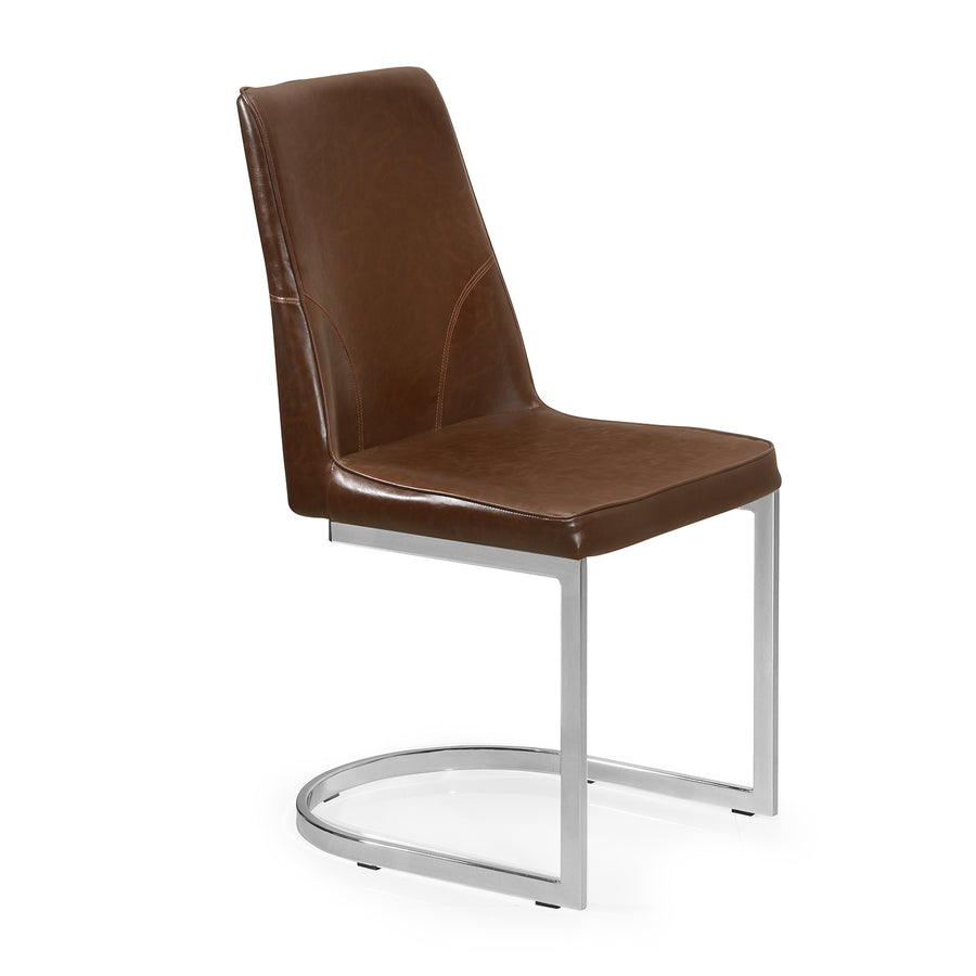 Walt Dining Chair (White with Walnut)