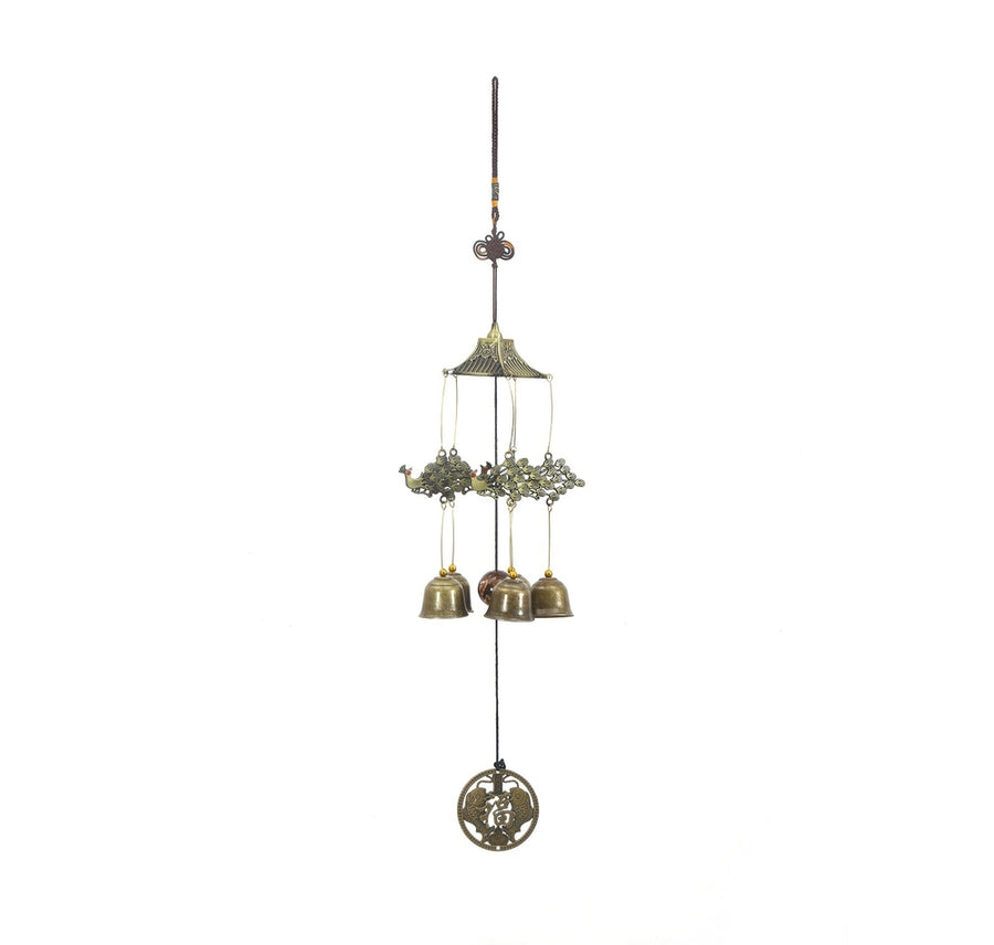 Hanging Peacock Garden Medium Windchime (Gold)