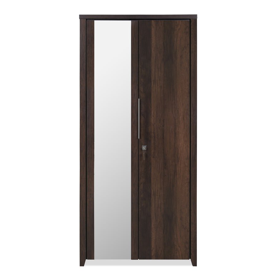 Zerlin Two Door Wardrobe With Mirror (Walnut)