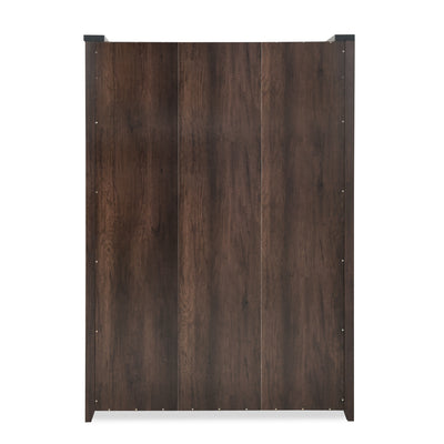 Zerlin 3 Door Wardrobe with Mirror (Dark Walnut)