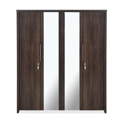 Zerlin Four Door Wardrobe With Mirror (Walnut)