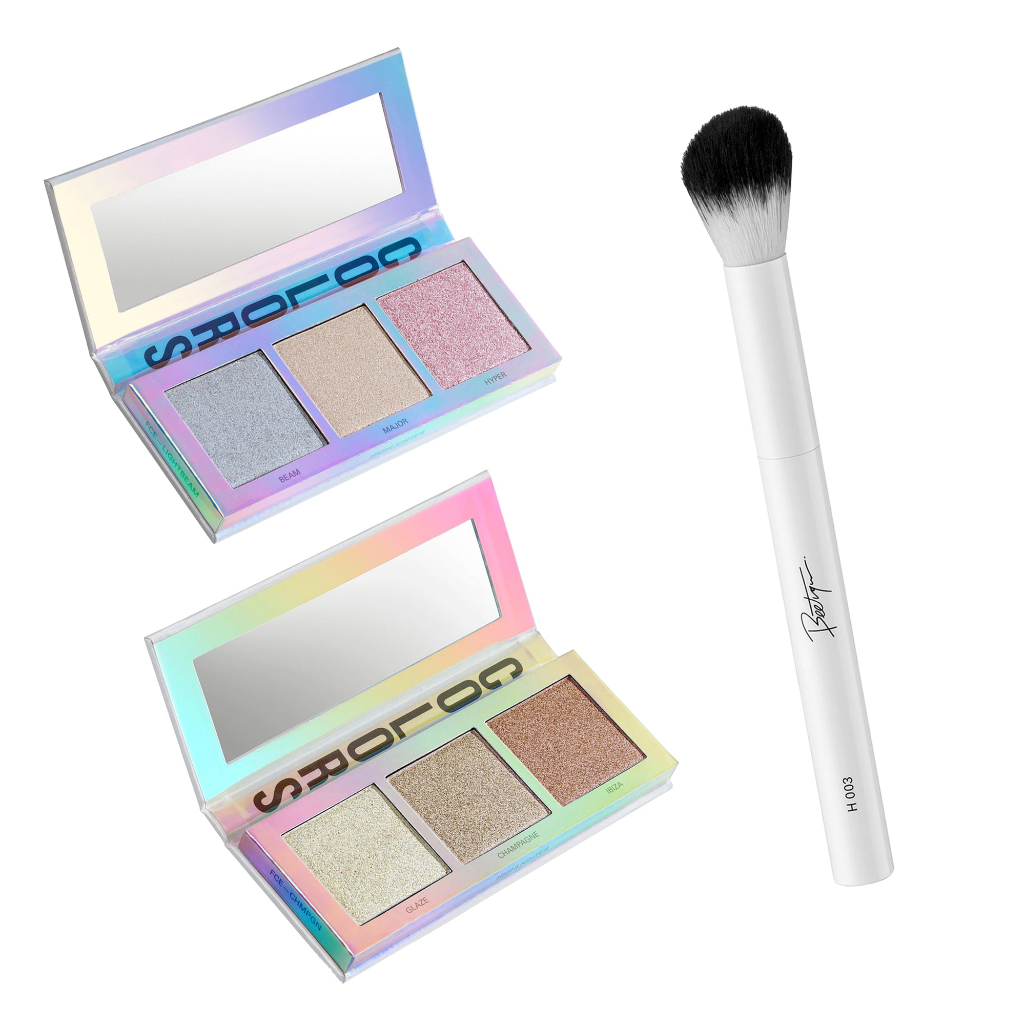Highlighter Kit I 2 Highlighterpaletten mit drei Nuancen und Highlighter Pinsel I 100% Vegan I Top Qualität jetzt bestellen!