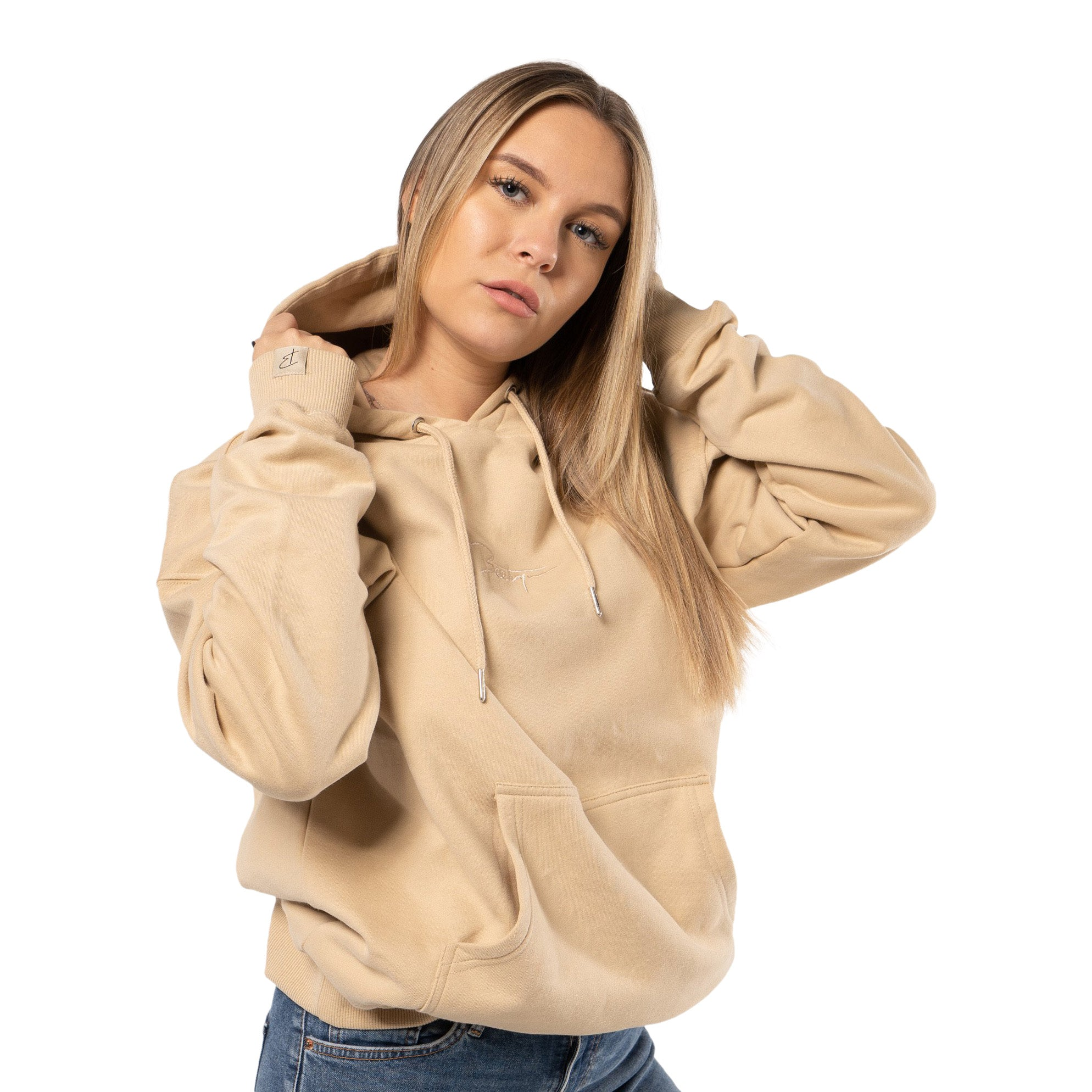 Beetique Basic Hoodie Beige I 100% Baumwolle I Kosmetik- und Make Up Brand