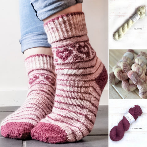 Love your Socks - Yarn Kit  - Yarn and Printed Pattern in English/Norwegian