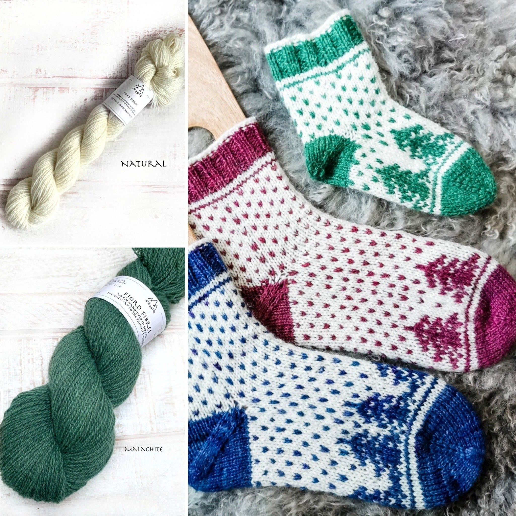 Christmas is coming socks - Yarn Kit - Malachite/Natural - Yarn and Printed Pattern in English/Norwegian