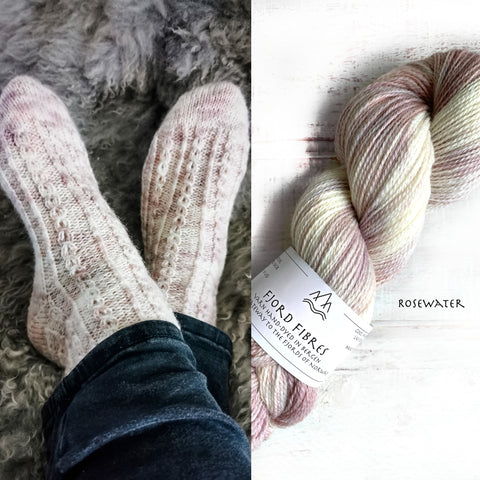 I see you Socks - Yarn Kit  - Rosewater - Yarn and Printed Pattern in English/Norwegian