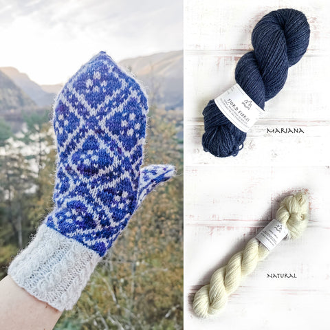 Fleur Élise Mittens Kit - Mariana/Natural - 2 x 50g yarn and Printed Pattern in English/Norwegian