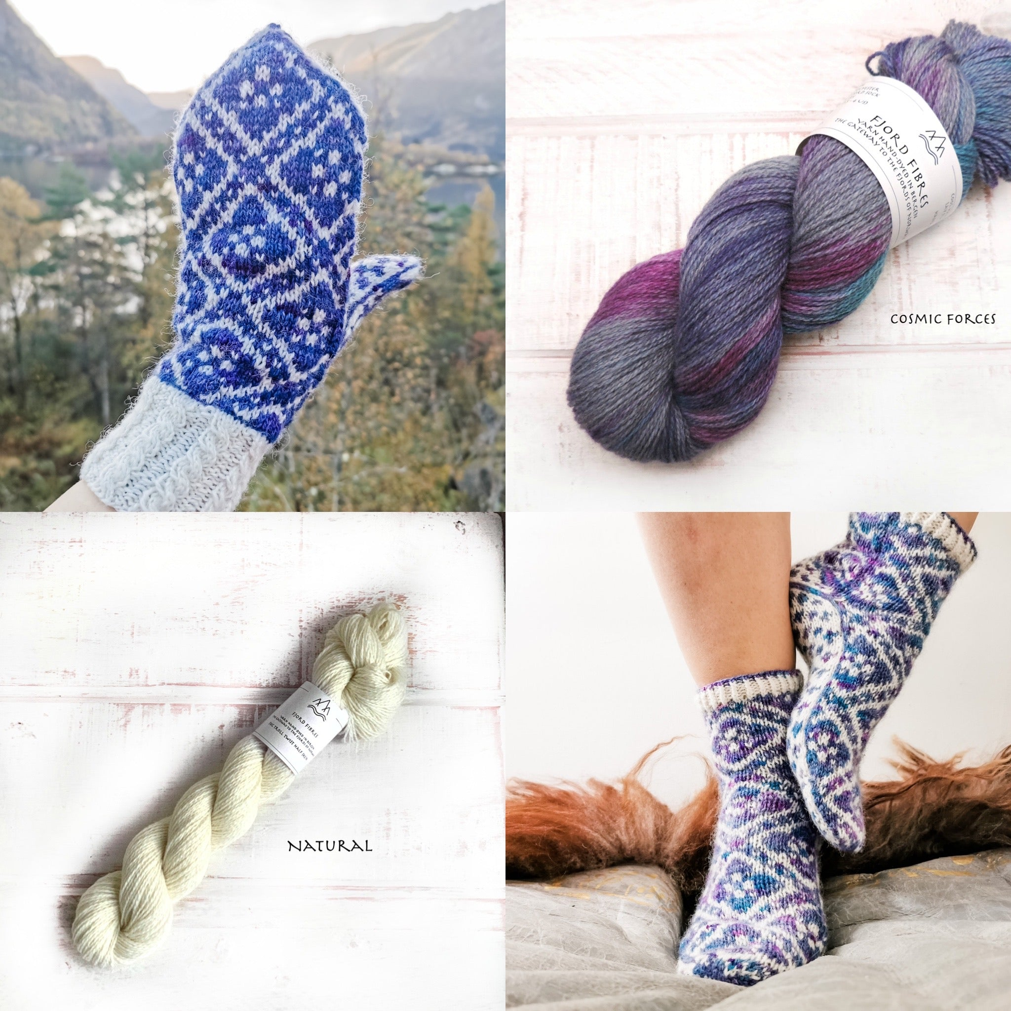 Fleur Élise Mittens and Sock Kit  Bundle - Cosmic Forces/Natural - Yarn and Printed Pattern in English/Norwegian