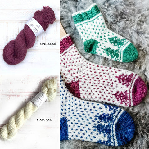 Christmas is coming socks - Yarn Kit - Cinnabar/Natural - Yarn and Printed Pattern in English/Norwegian