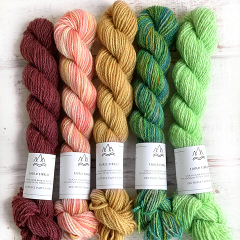 Garden Walk Mini Skein Set - Trollfjord Sock - Hand Dyed Yarn - Variegated Yarn