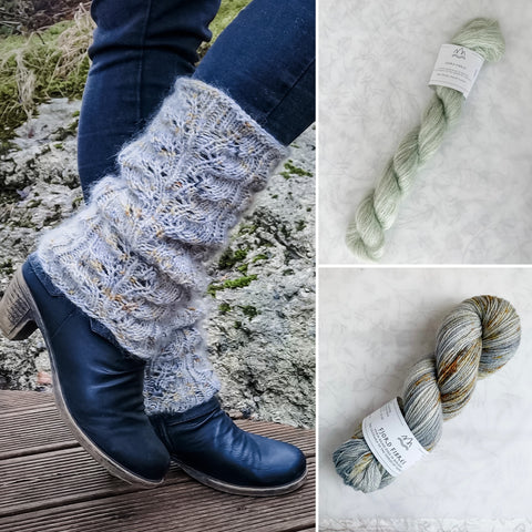 Sarina Leg Warmers Yarn Kit - Oxidation/Sage - Yarn and Printed Pattern in English/Norwegian