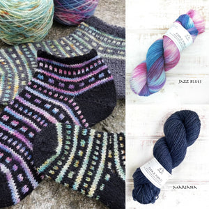 All that Jazz Socks Kit - Jazz Blues/Mariana -  Yarn and Printed Pattern in English/Norwegian