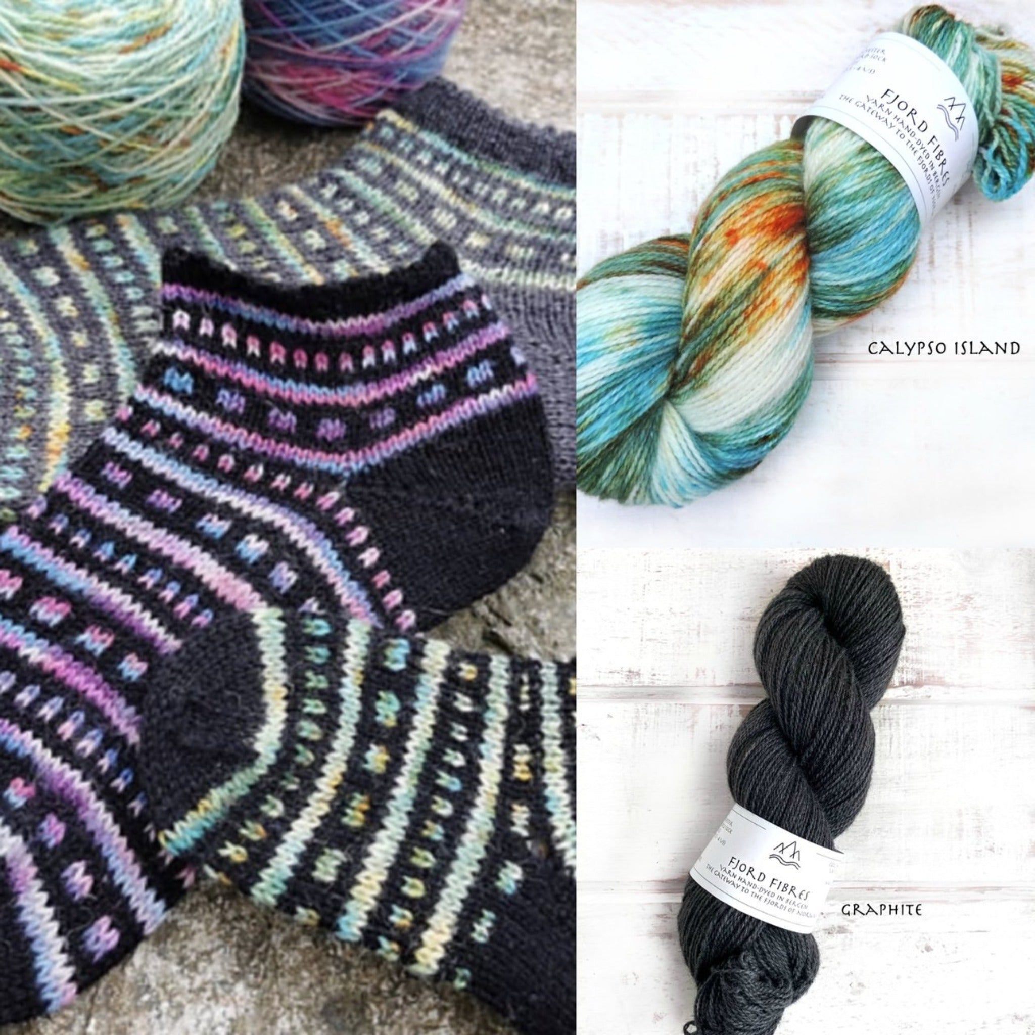 All that Jazz Socks Kit - Calypso Island/Graphite - Yarn and Printed Pattern in English/Norwegian - Trollfjord Sock - Hand Dyed Yarn