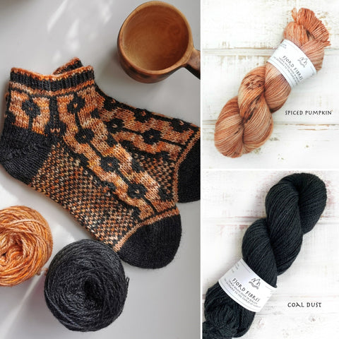 Dotted Line Socks Kit - Spiced Pumpkin/Coal Dust - Yarn and Printed Pattern in English/Norwegian