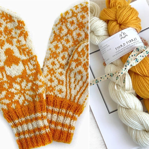 Litttle Chicken Norwegian Mittens Kit - 2 x 50g yarn and Printed Pattern in English/Norwegian