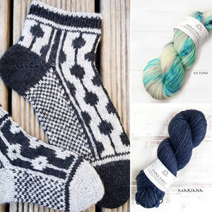 Dotted Line Socks Kit - Ice Flow/Mariana - Yarn and Printed Pattern in English/Norwegian - Trollfjord Sock - Hand Dyed Yarn