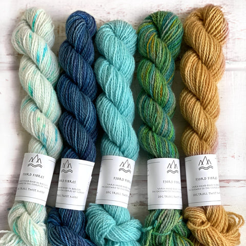 Norwegian Nature Mini Skein Set - Trollfjord Sock - Hand Dyed Yarn - Variegated Yarn