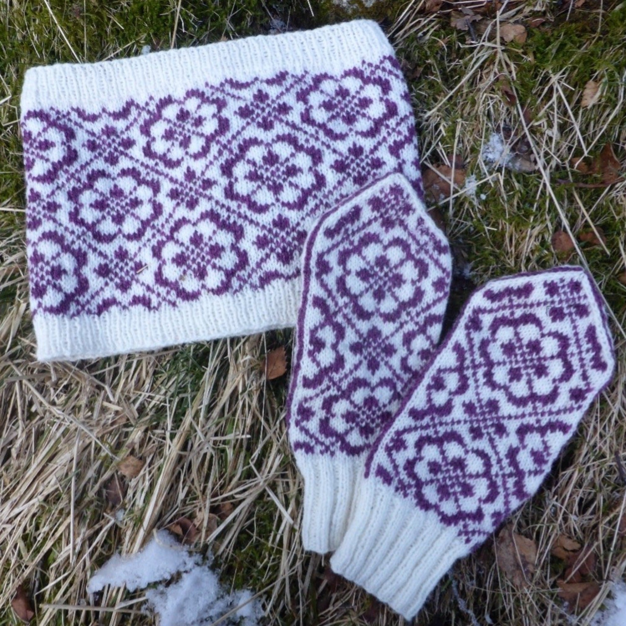 Buska Mittens  and Cowl Set - Pattern Only -  Digital Pattern in English/Norwegian - Norwegian mittens - Norwegian design