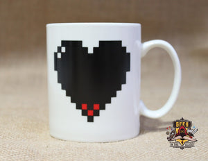 Heat Changing Pixelated Heart Mug Mugs