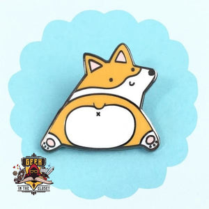 Corgi Butt Geeky Steel Pin