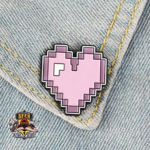 Retro Pixel Heart Steel Geeky Pin