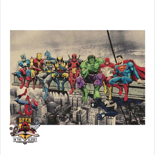 Dc X Marvel Lunch Atop A Skyscraper Poster Poster