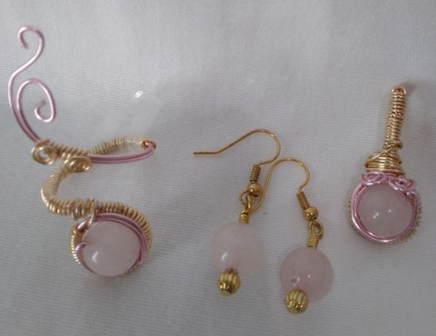 Rose Quartz Pendant, Ring, and Earring Set