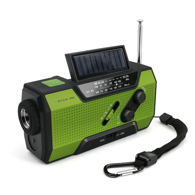 Camping Emergency Solar Crank Weather AM/FM Radio With USB Outlet Power Bank Flashlight