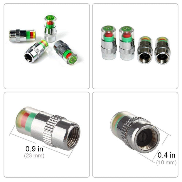 4pcs/lot Tire Pressure Monitor Valve Stem Cap 2.4Bar Sensor Indicator  Bar Air Warning Alert Valve Pressure Diagnostic Tools Kit