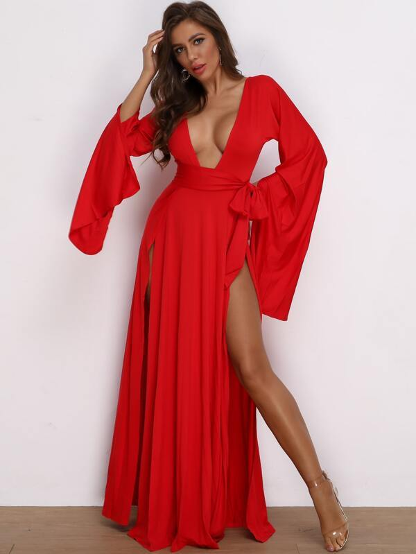 Belted Plunging V Neck Double Slit Maxi Dress Revenge Fashion Boutique