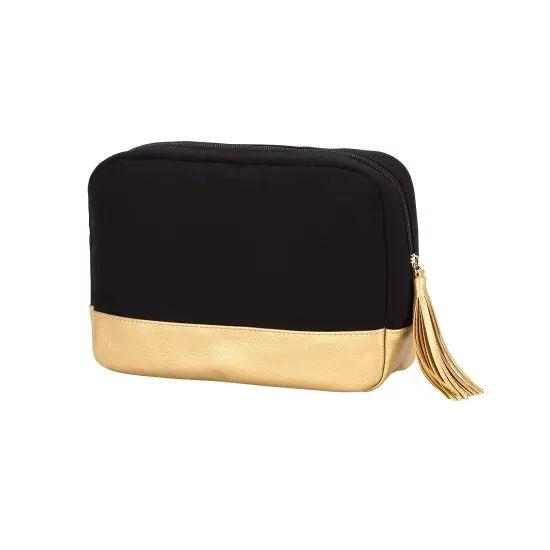 Black & Gold Cabana Cosmetic Bag Faire