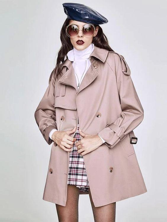 Blush Pink Belted Trench Coat SHN -michelle canbuldu