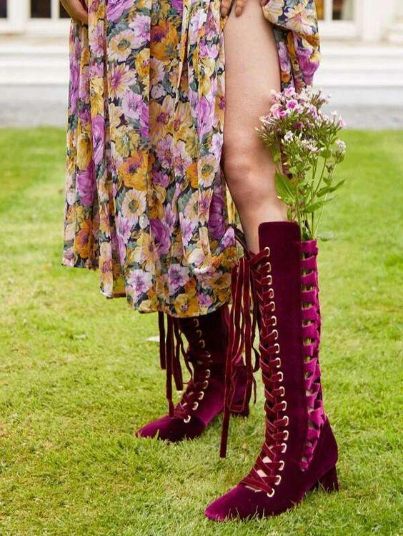 Boho Lace Up Chunky Heel Boots SHN-michellecanbuldu