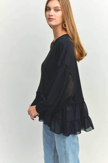Contrasting French Terry Blouse Faire-12pm