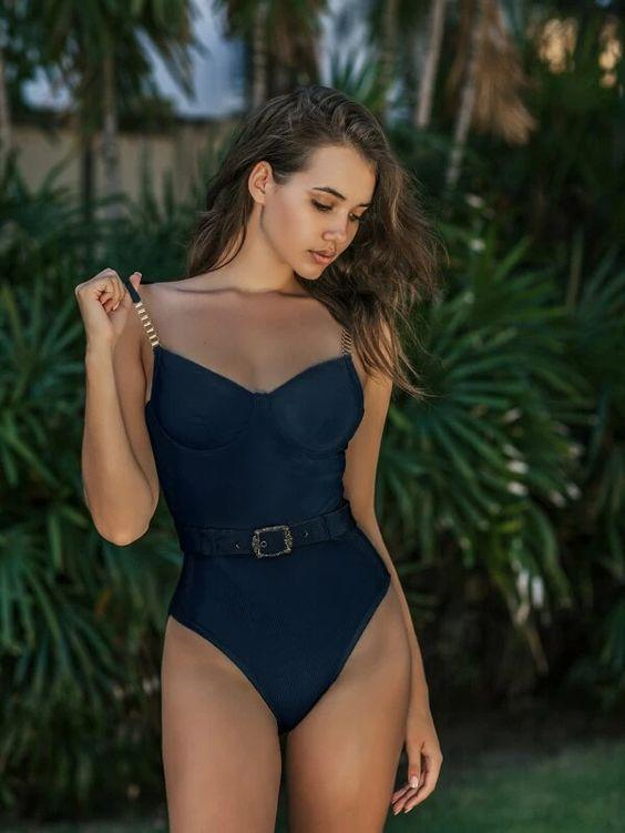 Corduroy Belted One Piece Swimsuit SHN-michellecanbuldu